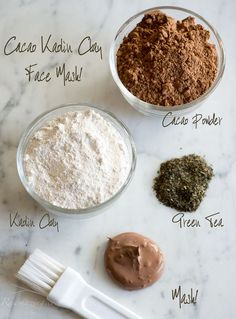 ** Clay Mask for aged skin:  Kaolin Clay and Cacao Face Mask: Kaolin draws impurities from the skin, while the antioxidants and flavanoids in Cacao repair skin and reduce inflammation. Rawmazing