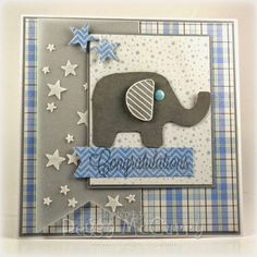 hand made card by Artfull Journey: Crazy4Challenges  ... My Favorite Things Sketch #180 and Stenciling ... luv the stenciled stars on vellum fishtail layer ... cute die cut elephant .. white, blue and gray with trunk up .. plaid background layer ... My Favorite Things