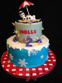 """(Disney's """"Frozen"""": Olaf in the Summer Cake! - Fondant-covered cake board was hand-painted in red gingham Bottom tier was airbrushed blue)"""