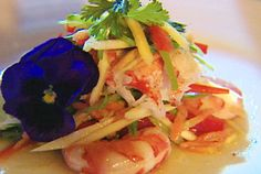 Salad of Green Mango with Prawn and Lobster Tail and Lime-Chili Dressing Recipe : Royal Caribbean