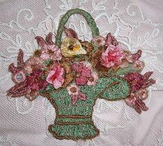ANTIQUE Silk Embroidery Applique...Flower Basket w/ RIBBON
