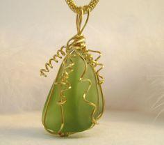 wire wrap, etsi marketplac, frosted glass, wrap jewelri, green frost, artist treasur, jewelri lover, handmad artist, etsi fave