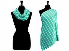 Itzy Ritzy Nursing Happens Infinity Breast Feeding Scarf, IBFS8099 (Seaside Stripe Turquoise )