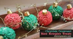 Christmas Rice Krispies Ornaments - SO cute, and easy too!  I think I'll make these for the cookie exchange party.  Rice Crispy balls with Rolos.