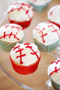 Season Opener: Baseball Party Ideas. Cupcakes that double as baseballs. Yum!