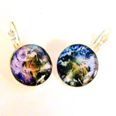 Mother Earth, Our Planet, Silver Plated Leverback Earrings