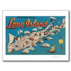 Long Island, New York - Greetings From Postcard