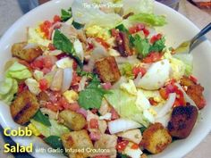 hearty serving of Cobb Salad with Garlic Infused Croutons cobb salad, shadi porch, infus crouton