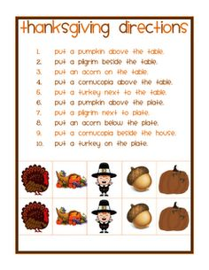 Positional / Spatial Directions - Thanksgiving Theme- - Pinned by @PediaStaff – Please Visit http://ht.ly/63sNt for all our pediatric therapy pins direct slp, idea, speech therapi, slp materi, thanksgiving, thanksgiv theme, activ, lane slp, spatial direct