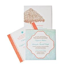 Beachy wedding invitations in blue and orange.