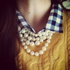 sweater, gingham, pearls
