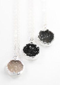 Noelani necklace silver druzy pendant necklace