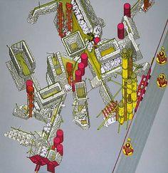 Plug-In City, Axonometric, 1964, Archigram/ Peter Cook