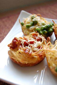 Spaghettini Carbonara Tartlets - More Muffin Tin Goodness