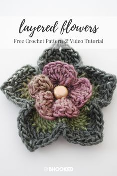 Layered crochet flower. Click through for the free pattern and video tutorial! #BHooked #Crochet #FreeCrochetPattern
