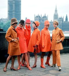 What's old is new again. Happy orange color throwback to 1960s. london, dream, mod fashion, color stories, oranges, 60s style, coats, orange crush, fashion shoots