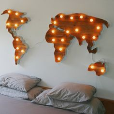 World Map Marquee Lights