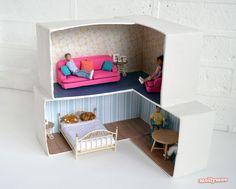 DIY cardboard dollshouse