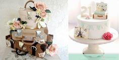 suitcase cakes vintage luggage cakes by Firefly India left and by Bake A Boo Cakes New Zealand right