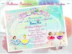 BALLET Birthday Party  Custom INVITE  5x7   by bellabellastudios, $15.00 Vintage inspired ballerinas ~ dance & twirl in this printable party collection by Bella Bella Studios.. http://www.etsy.com/shop/BellaBellaStudios http://www.zazzle.com/BellaBellaStudios* #ballet #ballerina #dance #birthday #party #happybirthday #girl #vintageballerina