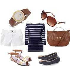 Nautical themed outfit for fun in the sun with sandals and flats, with a touch of gold and leather.
