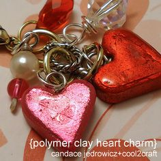 These Polymer Clay Heart Charms by Candace Jedrowicz are easy to make with mini cookie cutters!