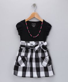 Take a look at this Black Plaid Dress & Necklace - Infant, Toddler & Girls by One Step Up on #zulily today!
