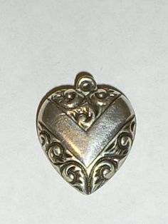 Vintage WALTER LAMPL Sterling Silver Ornate Scroll Repousse Puffy Heart Charm