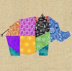 Elephant paper pieced block - via @Craftsy