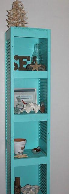 old shutters, back doors, shutter projects, bathroom storage, shelves