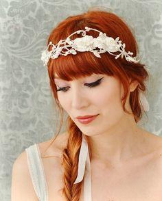Bridal flower crown wedding headpiece white by gardensofwhimsy, $65.00