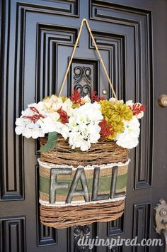 Hanging Fall Wreath DIY with Chalkboard Letters, Burlap, and Lace.
