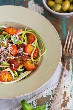 Zucchini Pasta with Roasted Tomatoes