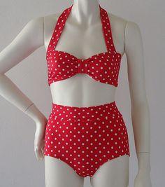 Red Polka Dot Retro Bandeau and High Waist Bikini
