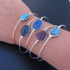 Gemstone Bangle Bracelet Sterling Silver Bangle by FrostedWillow