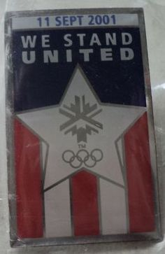 OLYMPIC GAMES PIN We Stand United Salt Lake 2002 11 Sept 2001 Star Flag Olympics