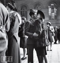 {I love this photo so much} In this and dozens of other, similar pictures made at New York's Penn Station, LIFE's Alfred Eisenstaedt captured a private moment repeated in public millions of times over the course of the war: a guy, a girl, a goodbye — and no assurance that he'll make it back. By war's end, more than 400,000 American troops had been killed.