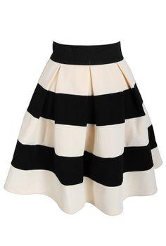 Black and Cream Pleated Stripe Skirt