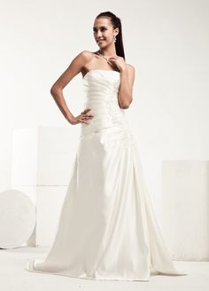 Simple Ruffled Satin Wedding Dress $278.98 Plain but classy. Lida
