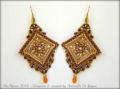 DIY Beading pattern Gold Chic earrings / PDF tutorial by MeiBijoux
