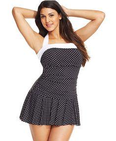 Lauren Ralph Lauren Plus Size Polka-Dot-Print Ruffled Swimdress