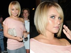 Hayden Panettiere is the latest starlet to chop her blonde locks into a chin-length concave bob.~ Thinking this is the hair cut we are going to do for Daphney this year.