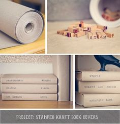 DIY stamped Kraft paper book covers for my living room to give it a more cohesive feel.