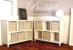 DIY Six Cube Bookshelf Tutorial by Ana White - use as a side table/storage bench next to chair on blue wall (maybe with yellow fabric drawers?)