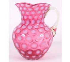 Cranberry Glass Coin Dot Pitcher