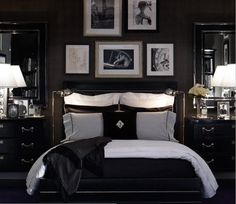 So many of my clients put their bedrooms low on their priority list. I vote to move them to the top of the list... this is your retreat! Make it special, you deserve it! In this case the dark walls are moody, a little bit masculine and a lot sexy. The white accents keep it fresh and inviting.
