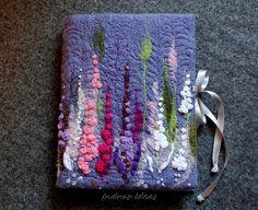 Felt cover. Eglantine flower book, journal, notebook felt cover.