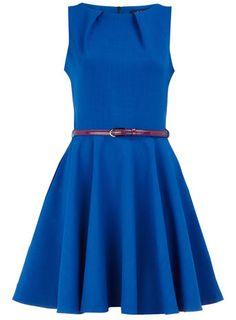 Blue flared belted dress