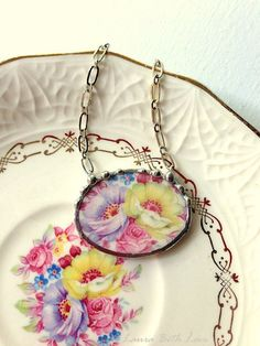 Broken china jewelry necklace antique colorful pink rose and purple yellow flowers antique broken china