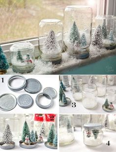 Waterless Snow Globes... Materials: Glass jars (varying sizes look best for a collection)- Artificial Snow (you can use Snow Flakes and Twinkle Flakes) Hot glue gun and glue - Assorted mini Christmas Trees and snowmen - Spray Adhesive (optional) glitter (optional) - Krylon Glitter Blast (or white spray paint)
